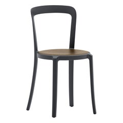 Emeco On & On Stacking Chair in Black with Walnut seat by Barber & Osgerby
