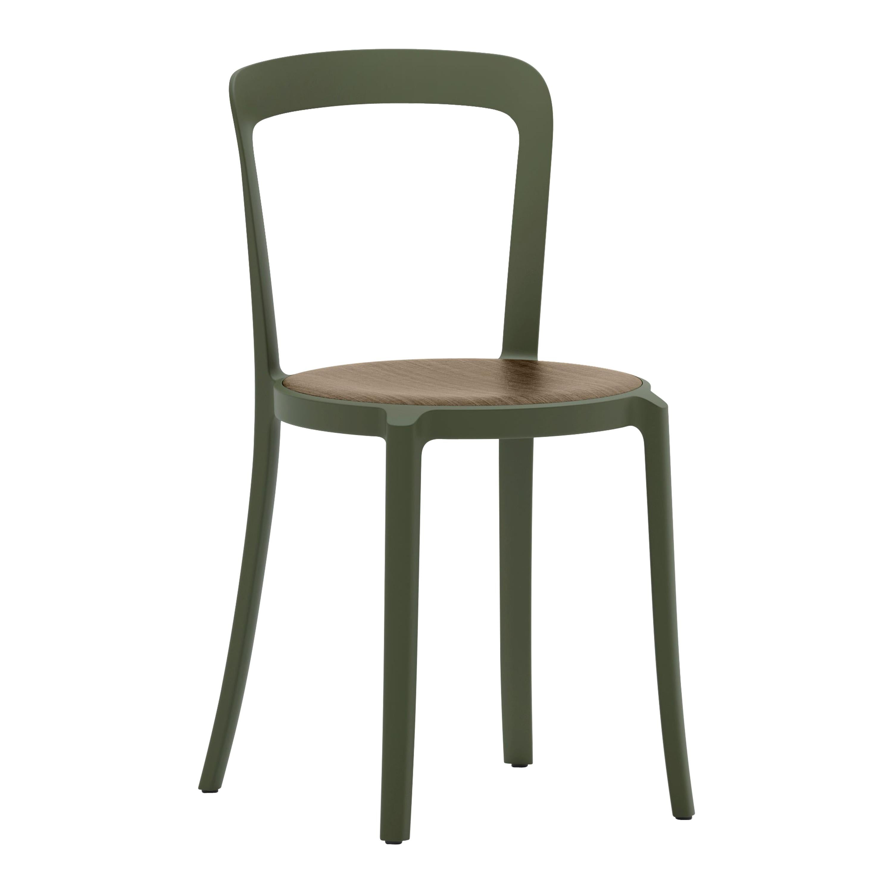 Emeco On & On Stacking Chair in Green with Walnut seat by Barber & Osgerby