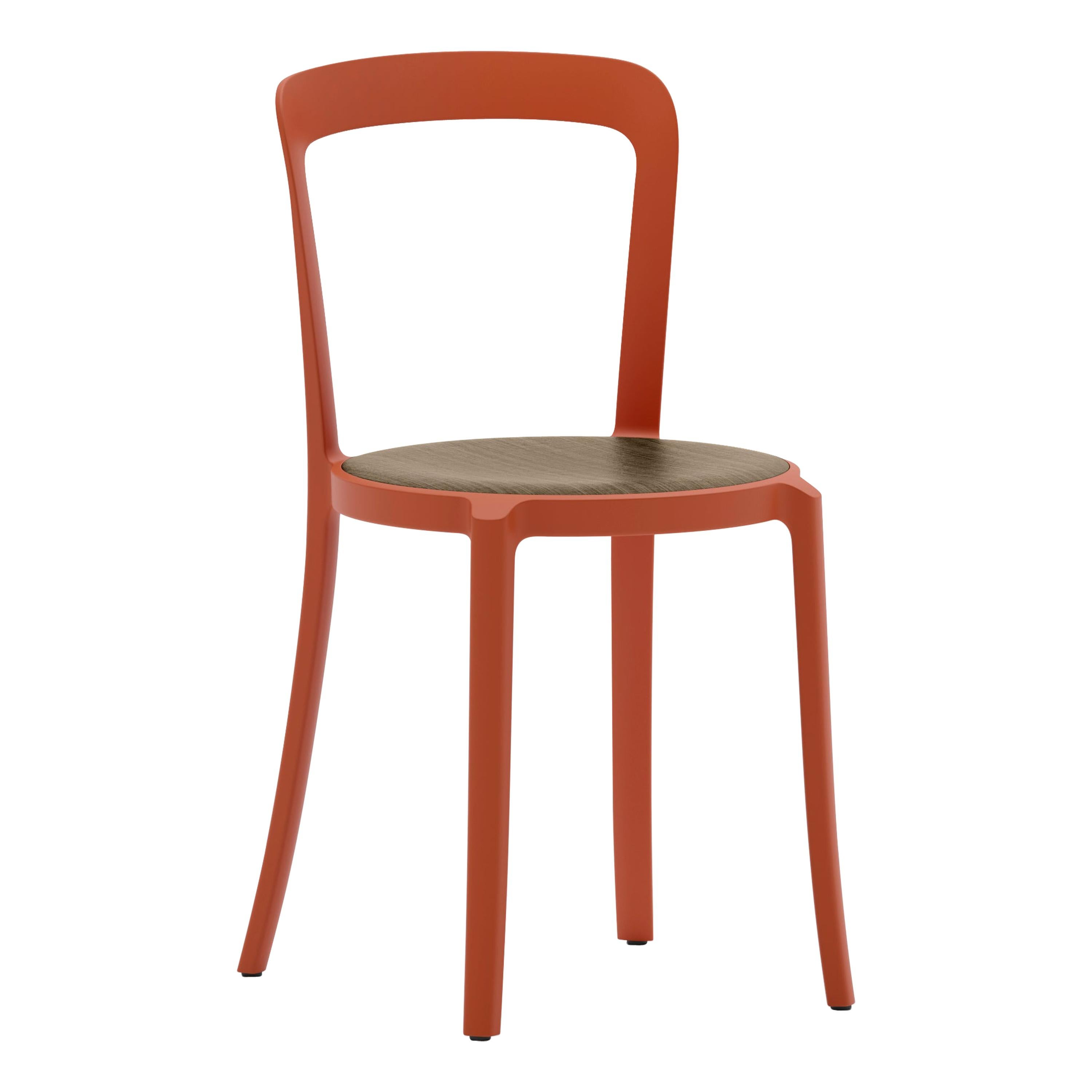 Emeco On & On Stacking Chair in Orange with Walnut seat by Barber & Osgerby