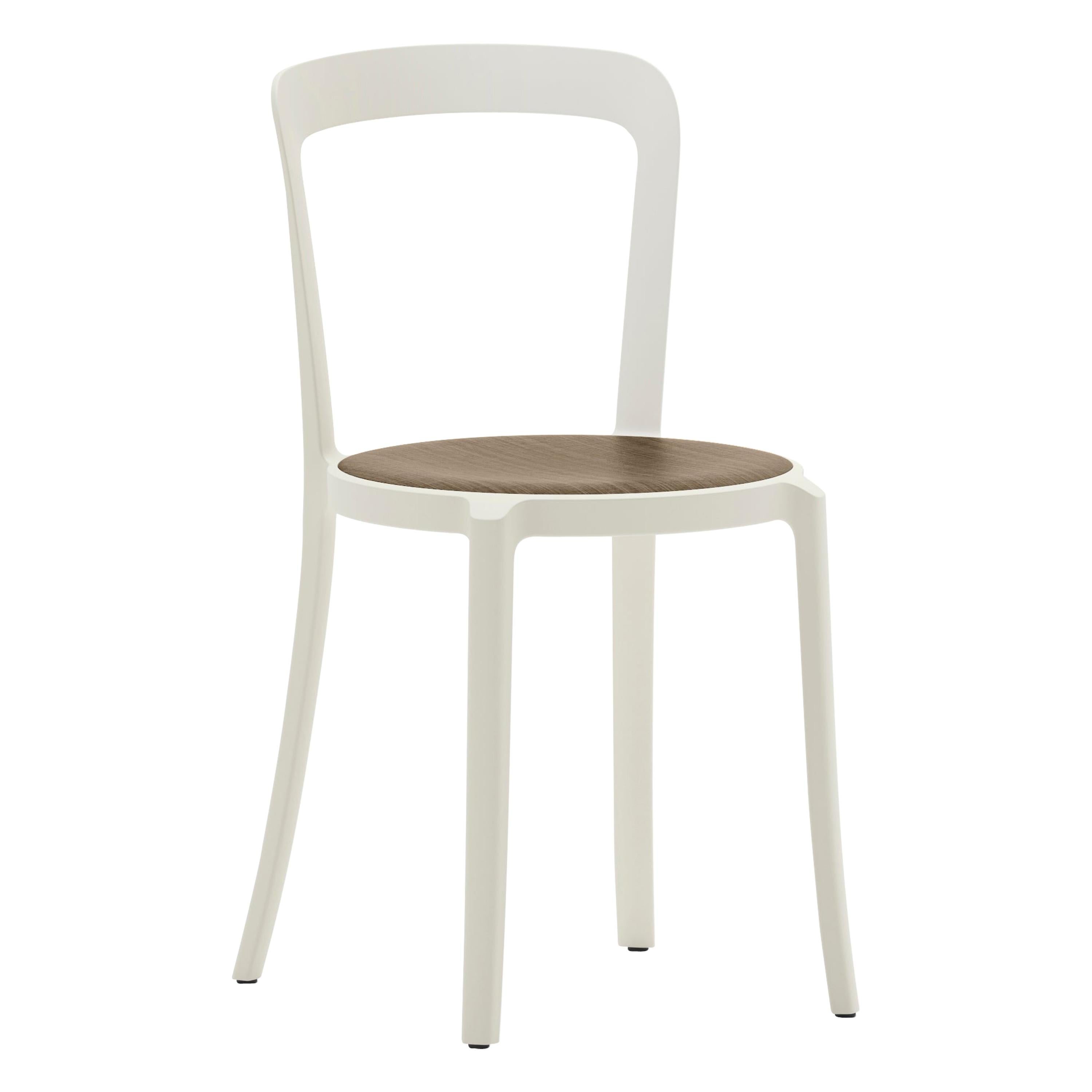 Emeco On & On Stacking Chair in White with Walnut seat by Barber & Osgerby