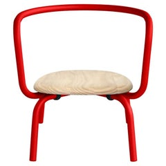 Emeco Parrish Aluminum Red Lounge Chair with Accoya Seat by Konstantin Grcic