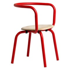 Emeco Parrish Aluminum Red Side Chair with Accoya Seat by Konstantin Grcic
