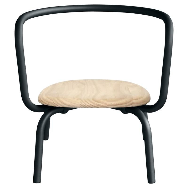 Emeco Parrish Black Lounge Chair with Accoya Seat by Konstantin Grcic