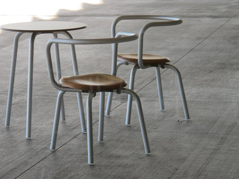 Aluminum Emeco Parrish Side Chair in Black Powder-Coat and Ash by Konstantin Grcic For Sale