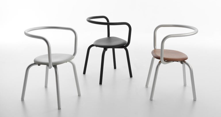 Modern Emeco Parrish Side Chair in Black Powder-Coat and Black by Konstantin Grcic For Sale