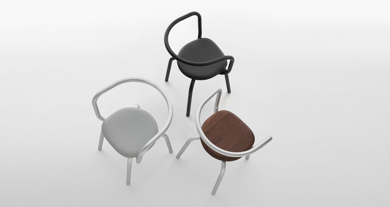American Emeco Parrish Side Chair in Black Powder-Coat & Gray Leather by Konstantin Grcic For Sale