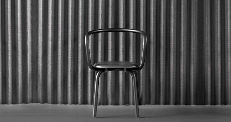 Emeco Parrish Side Chair in Black Powder-Coat & Gray Leather by Konstantin Grcic In New Condition For Sale In Hanover, PA