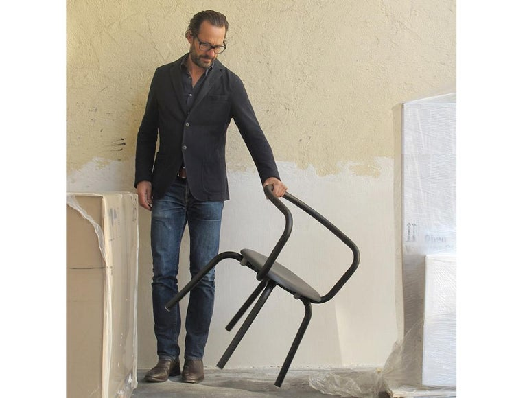 Emeco Parrish Side Chair in Black Powder-Coat & Gray Leather by Konstantin Grcic For Sale 1