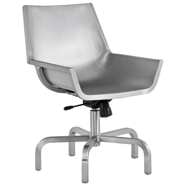 Emeco Sezz Swivel Chair W Glides In Brushed Aluminum By