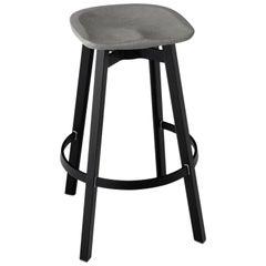 Emeco Su Barstool in Black Aluminum with Eco-Concrete Seatby Nendo
