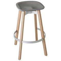 Emeco Su Barstool in Wood with Eco-Concrete Seat by Nendo