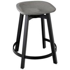 Emeco Su Counter Stool in Black Aluminum with Eco Concrete Seat by Nendo