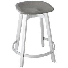 Emeco Su Counter Stool in Natural Aluminum with Eco Concrete Seat by Nendo