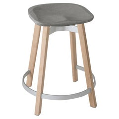 Emeco Su Counter Stool in Wood with Eco Concrete Seat by Nendo