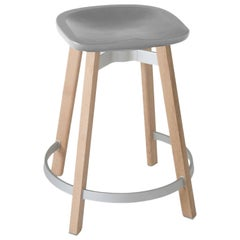 Emeco Su Counter Stool in Wood w/ Flint Seat by Nendo