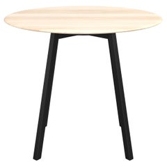 Emeco Su Large Round Cafe Table with Black Anodized Frame & Wood Top by Nendo