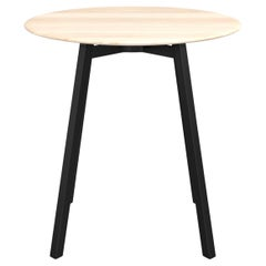 Emeco Su Medium Round Cafe Table with Black Anodized Frame & Wood Top by Nendo