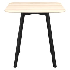 Emeco Su Medium Square Cafe Table with Black Anodized Frame & Wood Top by Nendo