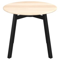 Emeco Su Round Low Table with Black Anodized Frame & Wood Top by Nendo