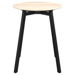 Emeco Su Small Round Cafe Table with Black Anodized Frame & Wood Top by Nendo