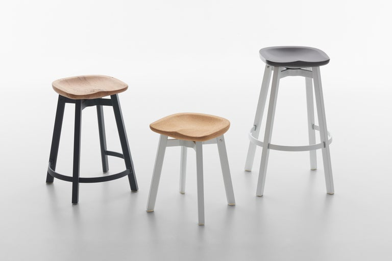 Modern Emeco Su Small Stool in Black Aluminum w/ Reclaimed Oak Seat by Nendo For Sale