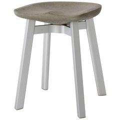 Emeco Su Small Stool in Natural Aluminum w/ Eco Concrete Seat by Nendo