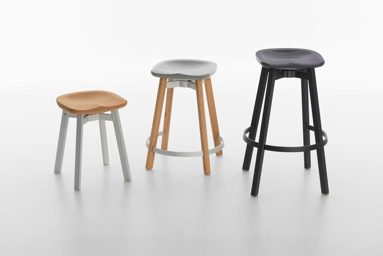 American Emeco Su Small Stool in Natural Aluminum w/ Reclaimed Oak Seat by Nendo For Sale