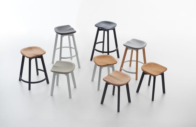 Emeco Su Small Stool in Natural Aluminum w/ Reclaimed Oak Seat by Nendo In New Condition For Sale In Hanover, PA