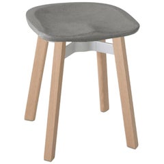 Emeco Su Small Stool in Wood with Eco Concrete Seat by Nendo