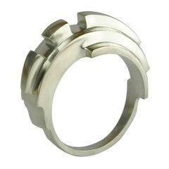 Emer Roberts Silver Angular Curved Ring