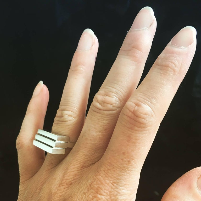 Contemporary Emer Roberts Solid Silver Architectural Ring For Sale