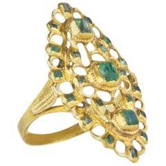 Emerald 0.40 Yellow Gold Victorian Cocktail Ring