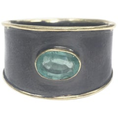 Emerald 14 Karat Gold Oxidized Sterling Silver Band Ring