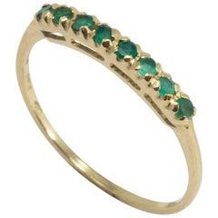 Emerald 14 Karat Yellow Gold Ring, Anniversary Band, .1 Carat Prong Set