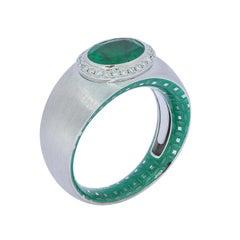 Emerald 1.78 Carat Diamond Enamel 18 Karat White Gold Ring
