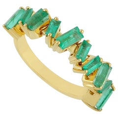 Emerald 18 Karat Gold Baguette Ring