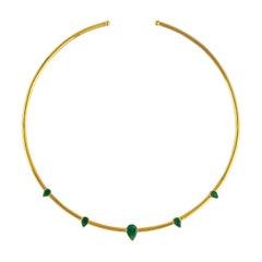 Emerald 18 Karat Gold Diamond Choker Necklace