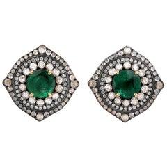 Emerald Diamond 18 Karat Gold Vintage Style Stud Earrings