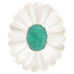 Emerald 18 Karat White Gold Rock Crystal Cocktail Ring
