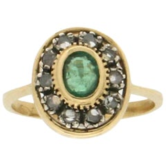 Emerald, 18 Karat Yellow Gold, Diamonds, Cocktail Ring
