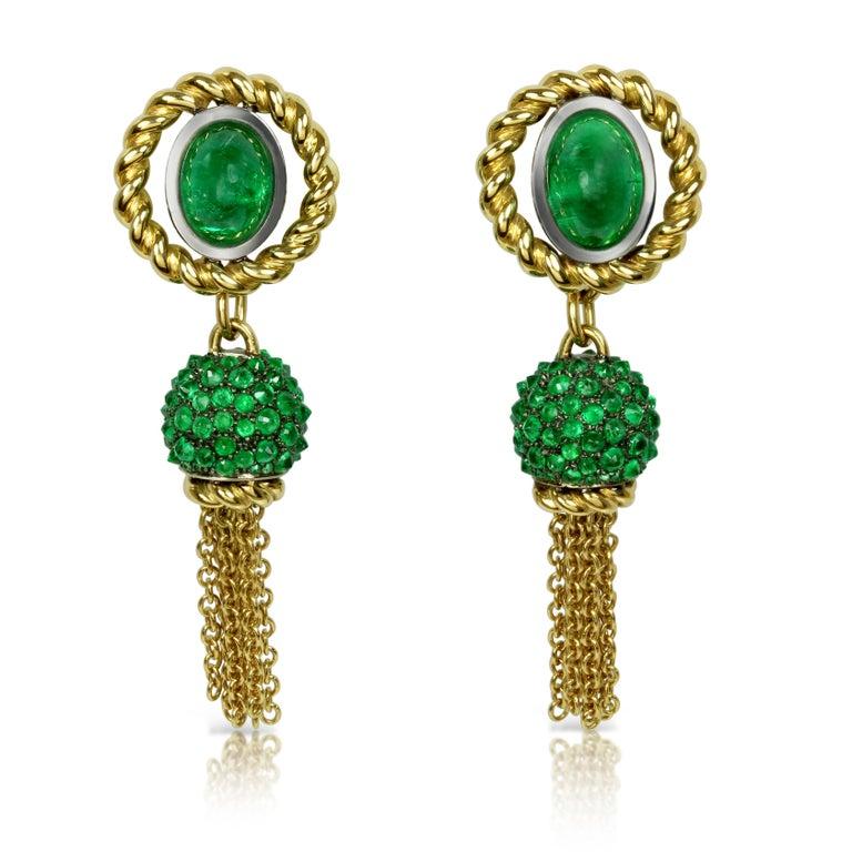 Modern Emerald 18 Karat Yellow Gold Silver Bangle Earring Suite AENEA Jewellery For Sale