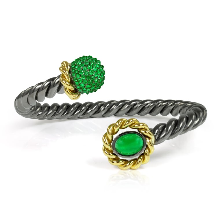 Emerald 18 Karat Yellow Gold Silver Bangle Earring Suite AENEA Jewellery In New Condition For Sale In Salzburg, AT