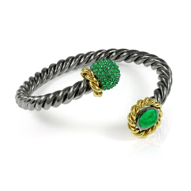 Women's Emerald 18 Karat Yellow Gold Silver Bangle Earring Suite AENEA Jewellery For Sale