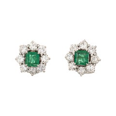 Emerald 2.50ct Diamond Cluster Earrings Vintage 18k White Gold Estate Jewelry