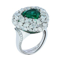 Emerald 3.70 Carat Diamonds Emeralds 18 Karat White Gold Ring