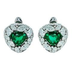 Emerald 4.05 Carat Diamonds Emeralds 18 Karat White Gold Earrings