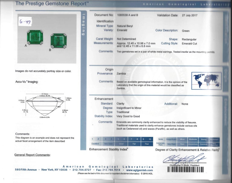 Emerald AGL Diamond White Gold Clip Earrings In Excellent Condition In Beverly Hills, CA