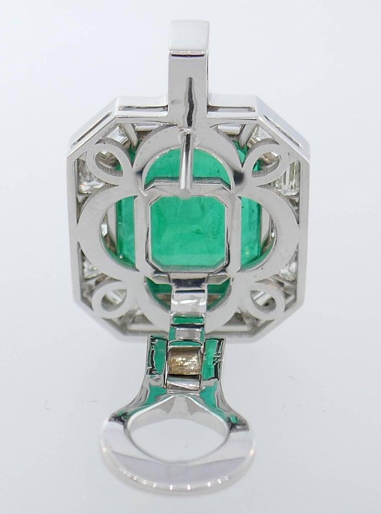 Emerald AGL Diamond White Gold Clip Earrings 1