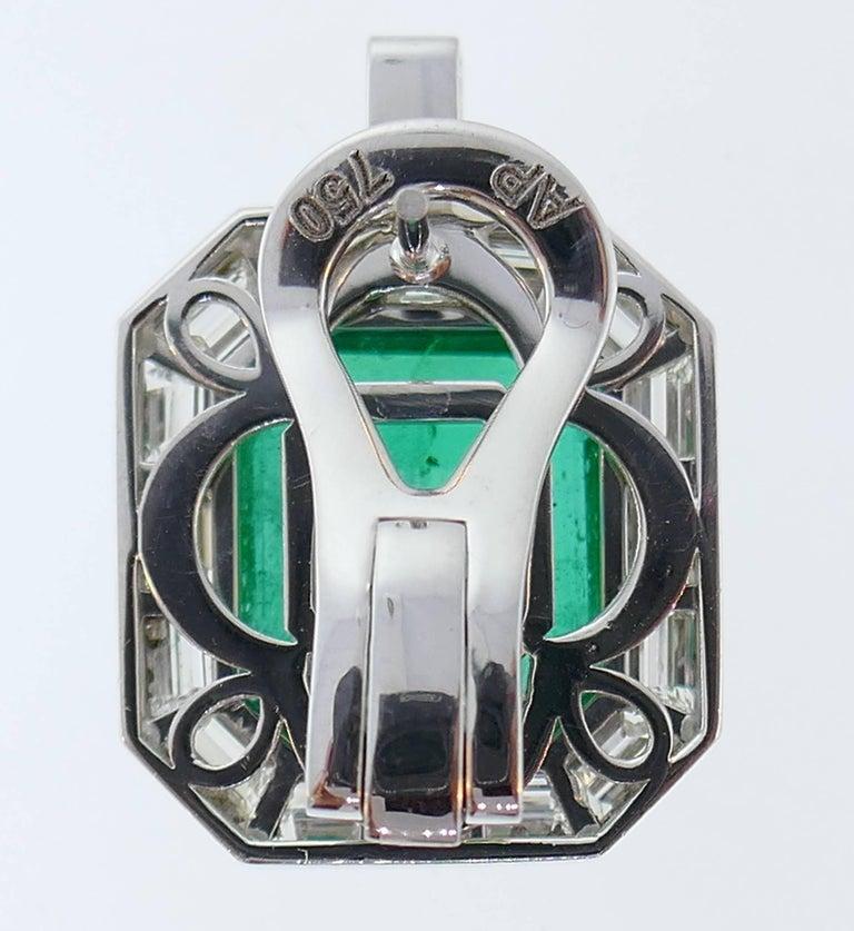 Emerald AGL Diamond White Gold Clip Earrings 2