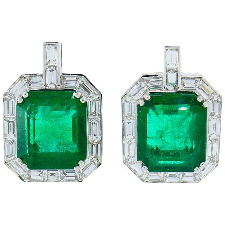 Emerald AGL Diamond White Gold Clip Earrings